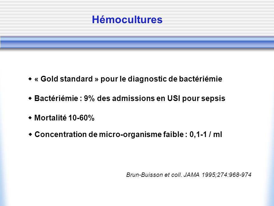 Hémocultures  « Gold standard » pour le diagnostic de bactériémie