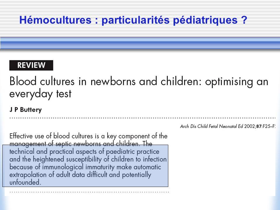 Hémocultures : particularités pédiatriques