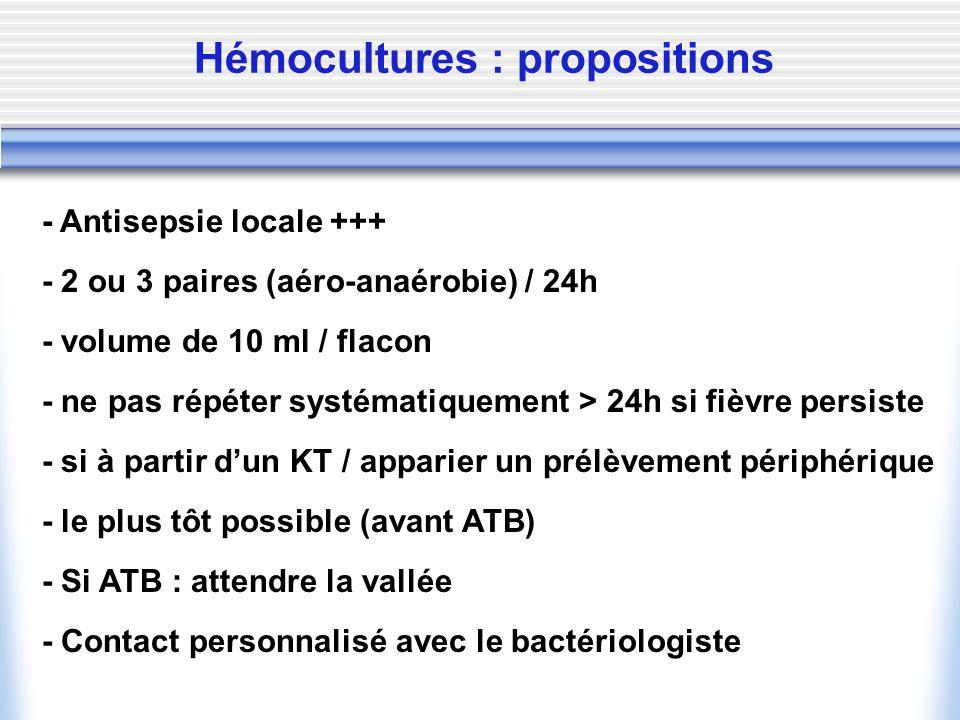 Hémocultures : propositions