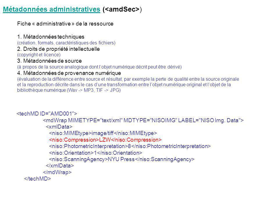 Métadonnées administratives (<amdSec>)