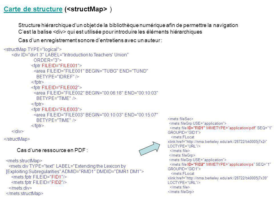 Carte de structure (<structMap> )