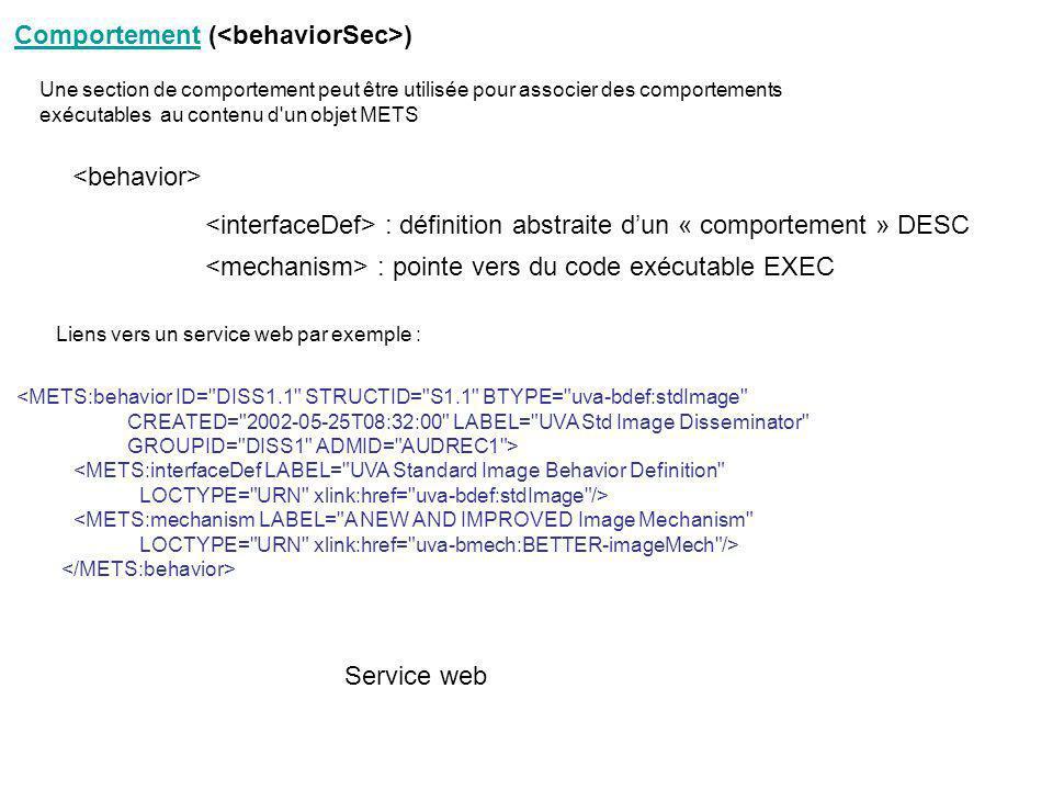 Comportement (<behaviorSec>)