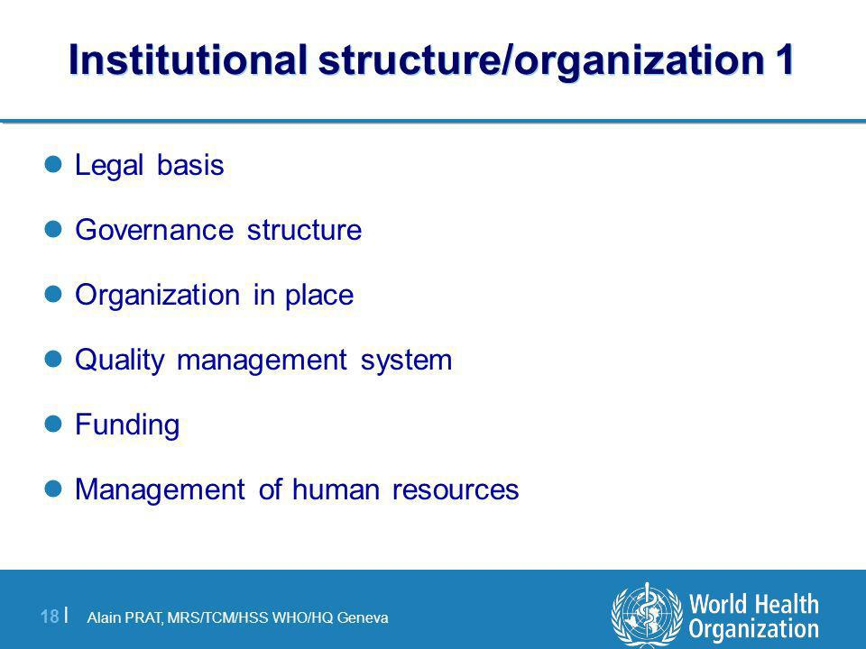 Institutional structure/organization 1