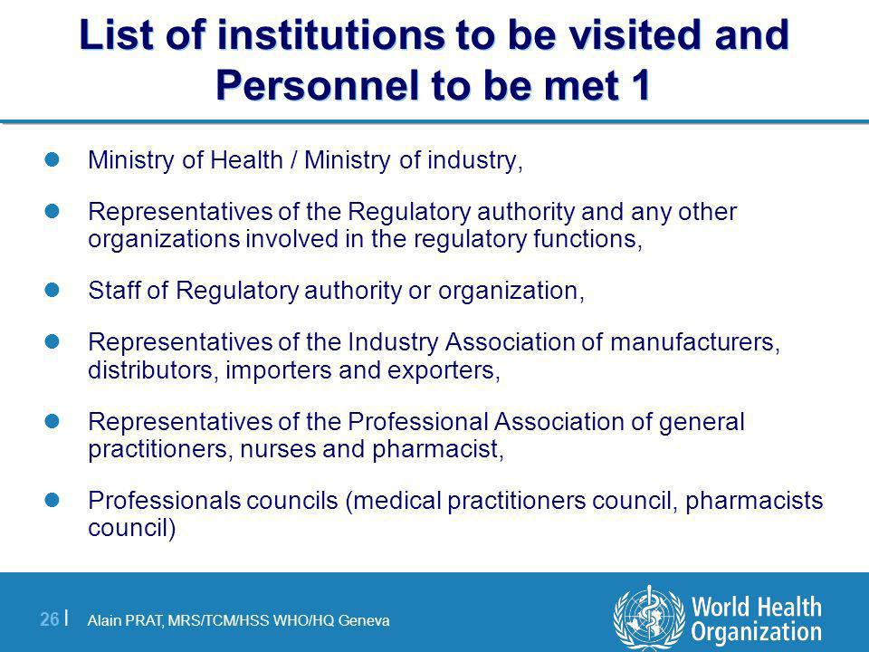 List of institutions to be visited and Personnel to be met 1
