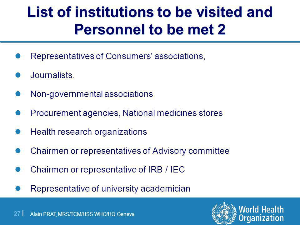 List of institutions to be visited and Personnel to be met 2
