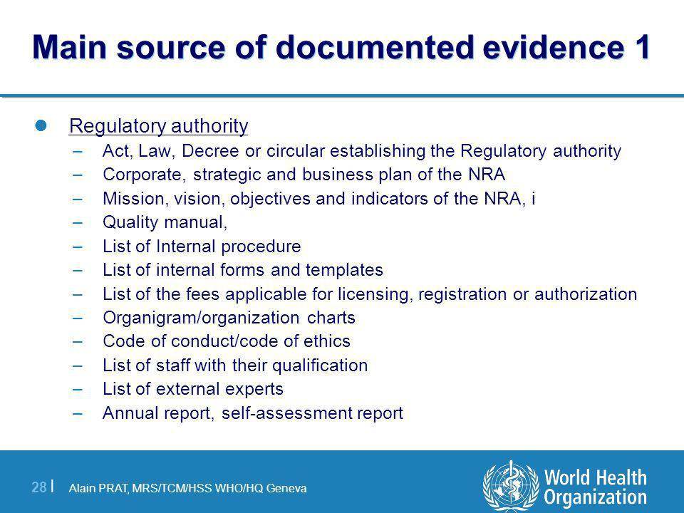 Main source of documented evidence 1