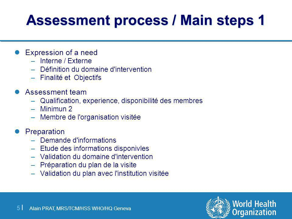 Assessment process / Main steps 1