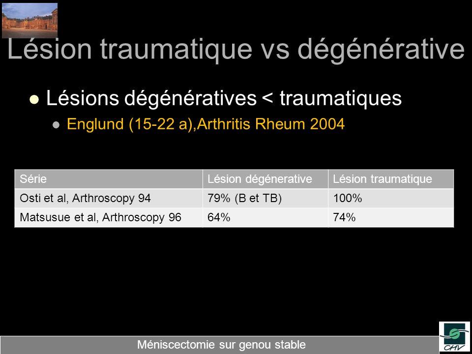 Lésion traumatique vs dégénérative