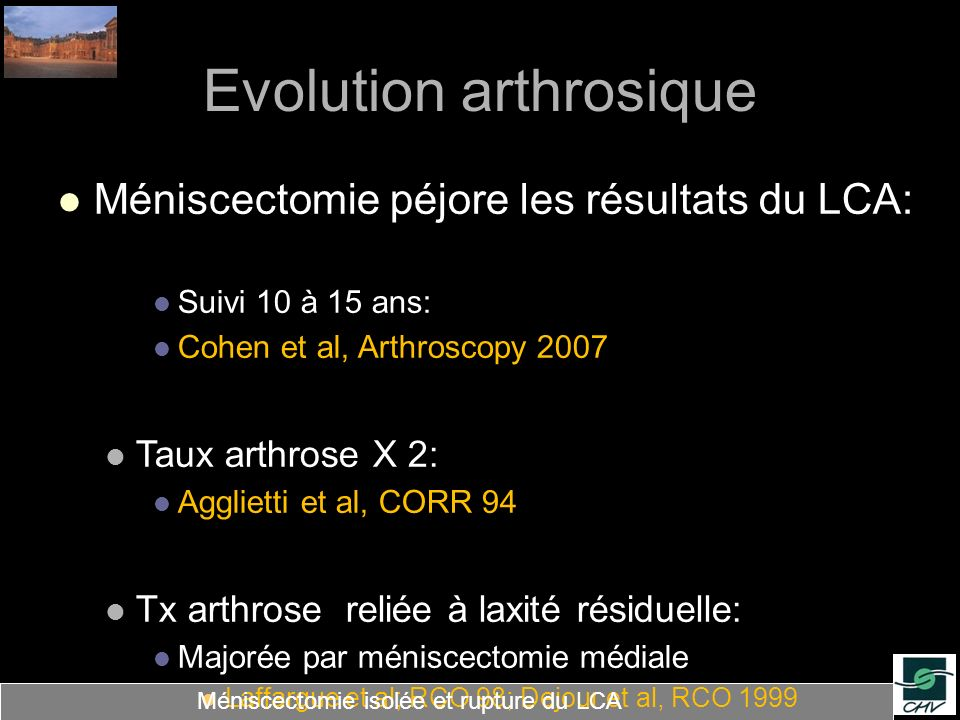 Evolution arthrosique