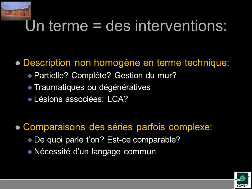 Un terme = des interventions: