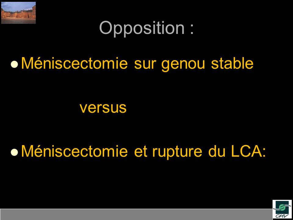 Opposition : Méniscectomie sur genou stable versus