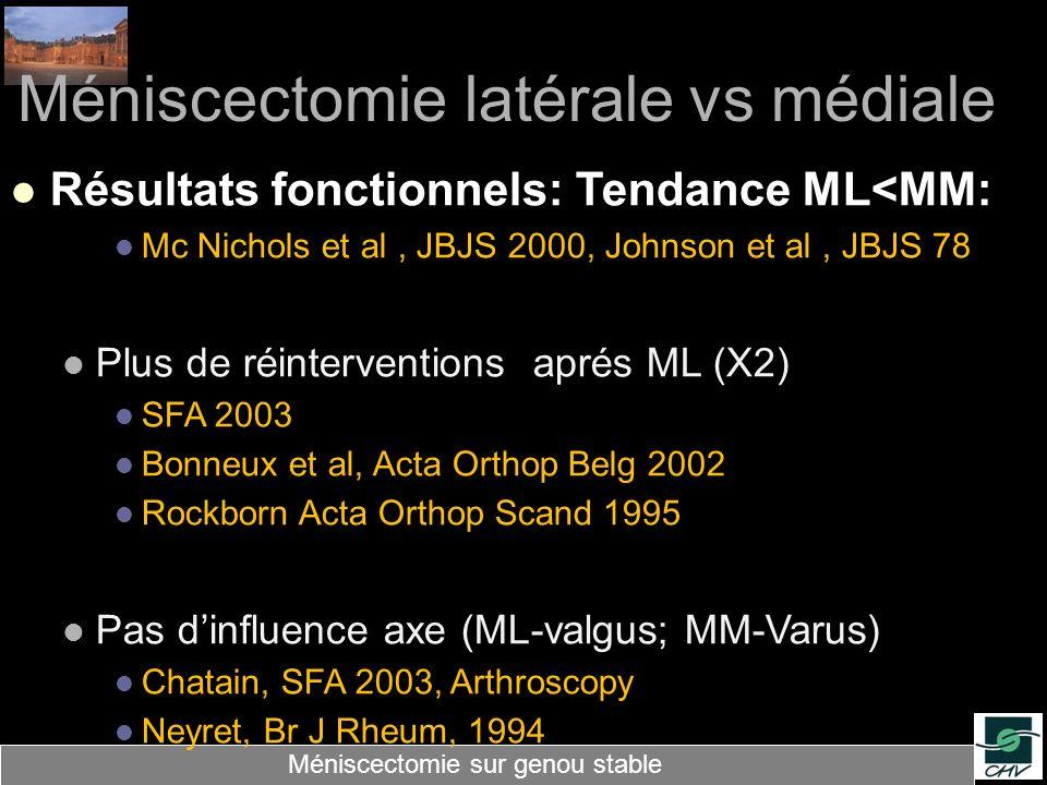 Méniscectomie latérale vs médiale