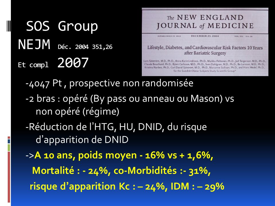 SOS Group NEJM Déc. 2004 351,26 Et compl 2007