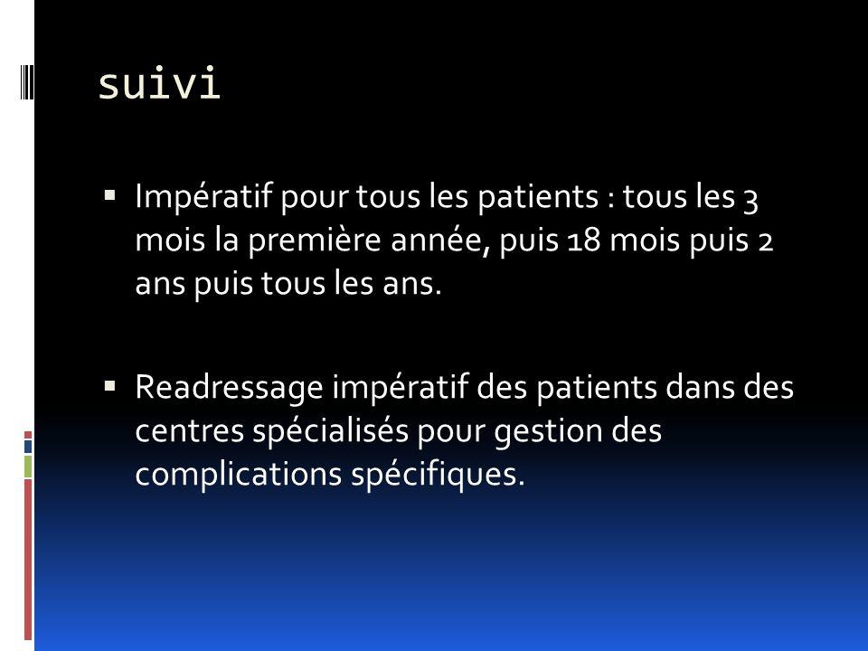 suivi Impératif pour tous les patients : tous les 3 mois la première année, puis 18 mois puis 2 ans puis tous les ans.
