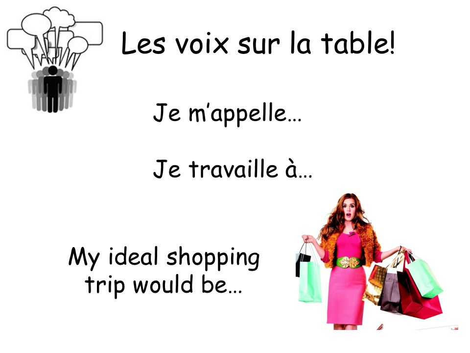 Les voix sur la table! Je m'appelle… Je travaille à… My ideal shopping