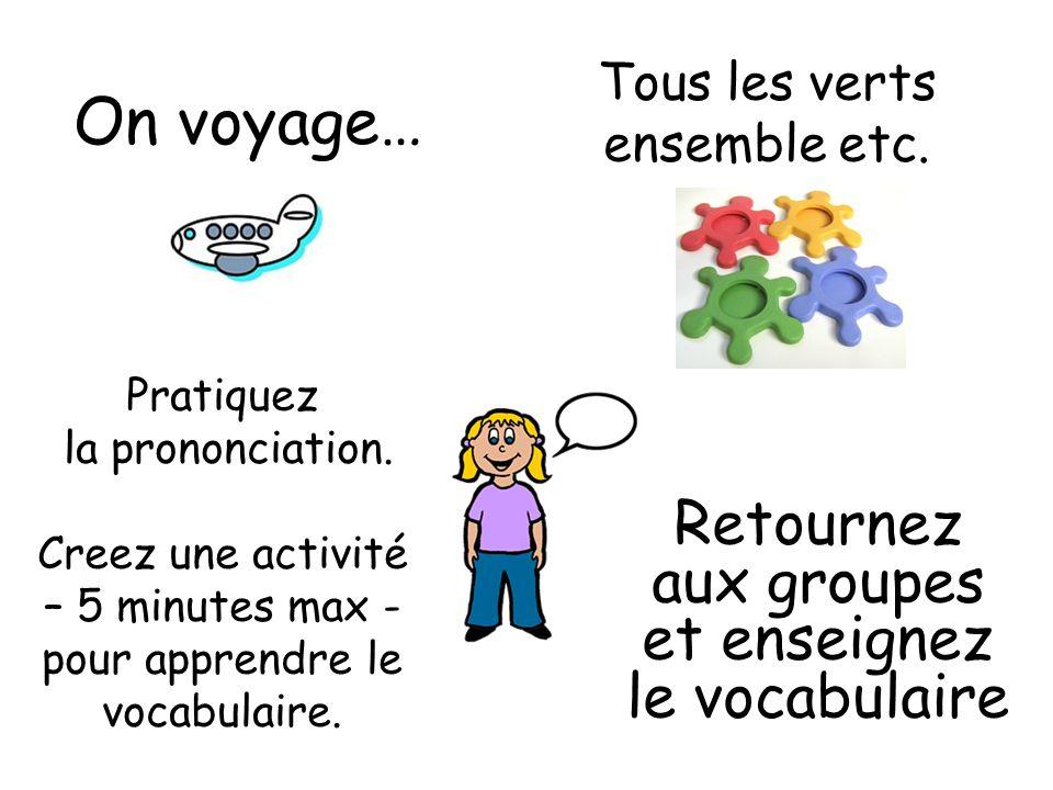 On voyage… Retournez aux groupes et enseignez le vocabulaire