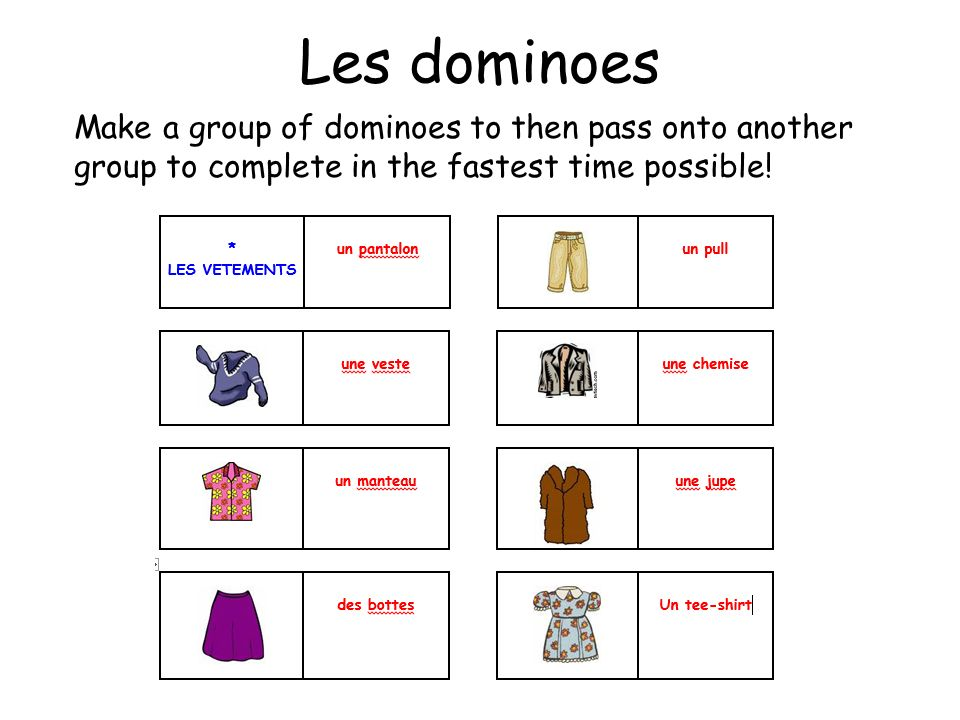 Les dominoes Make a group of dominoes to then pass onto another group to complete in the fastest time possible!