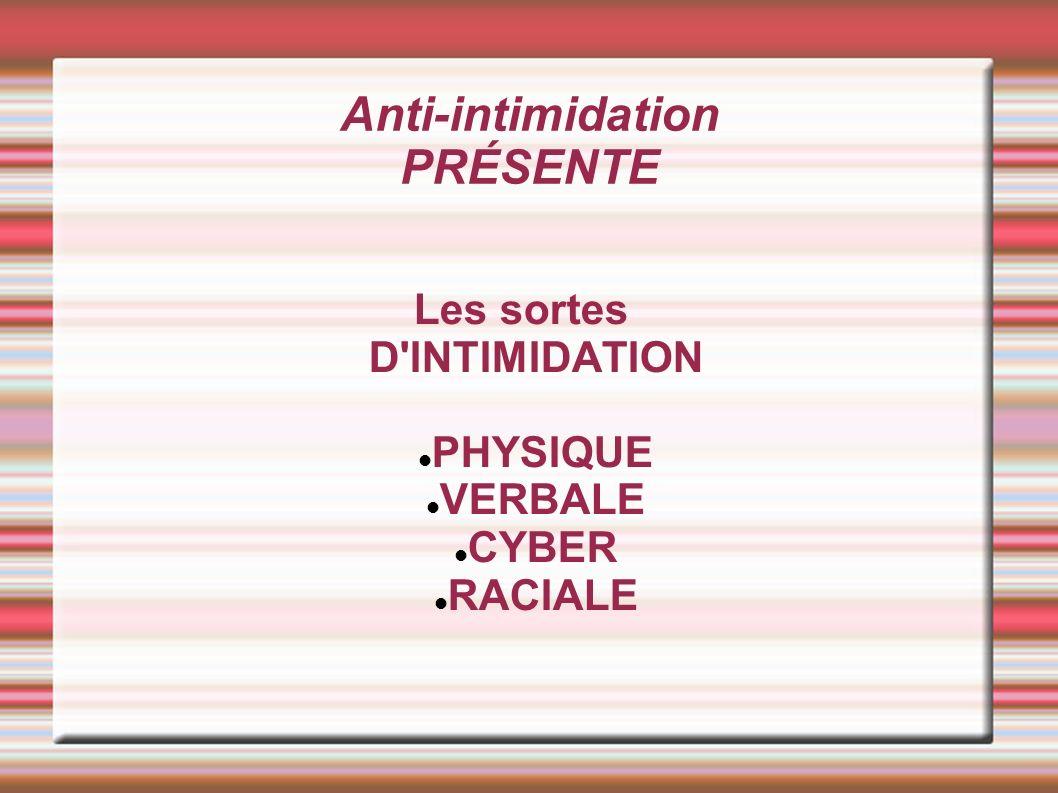 Anti-intimidation PRÉSENTE