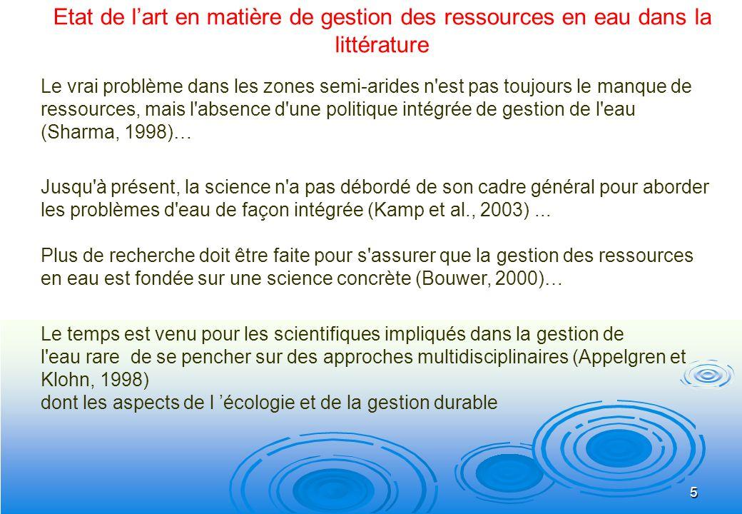 Etat de l'art en matière de gestion des ressources en eau dans la littérature