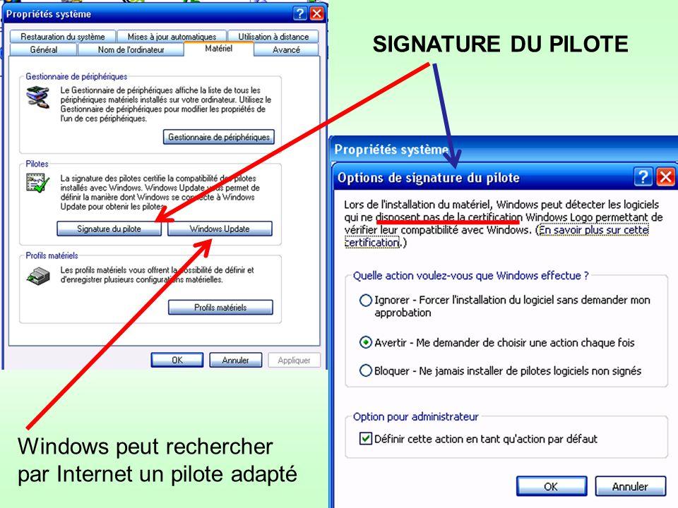 SIGNATURE DU PILOTE Windows peut rechercher par Internet un pilote adapté