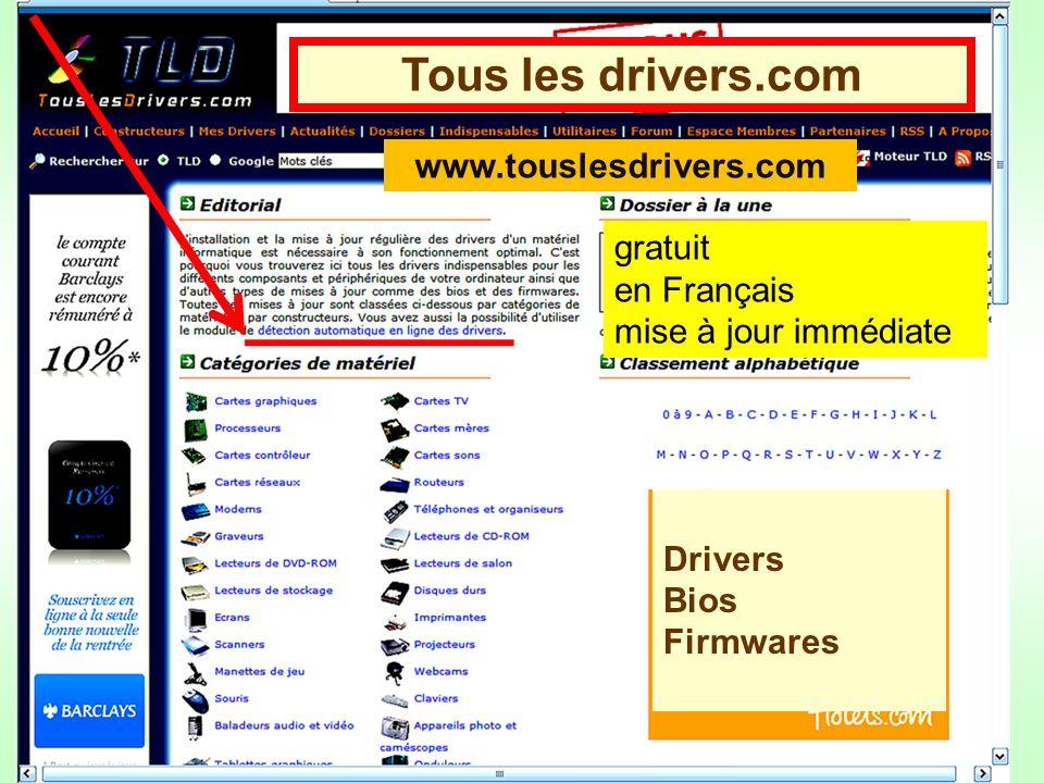 Tous les drivers.com www.touslesdrivers.com gratuit en Français