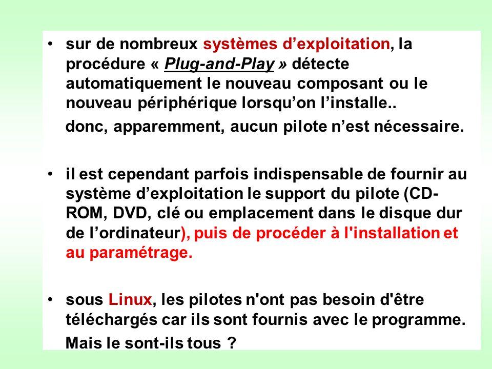 sur de nombreux systèmes d'exploitation, la procédure « Plug-and-Play » détecte automatiquement le nouveau composant ou le nouveau périphérique lorsqu'on l'installe..