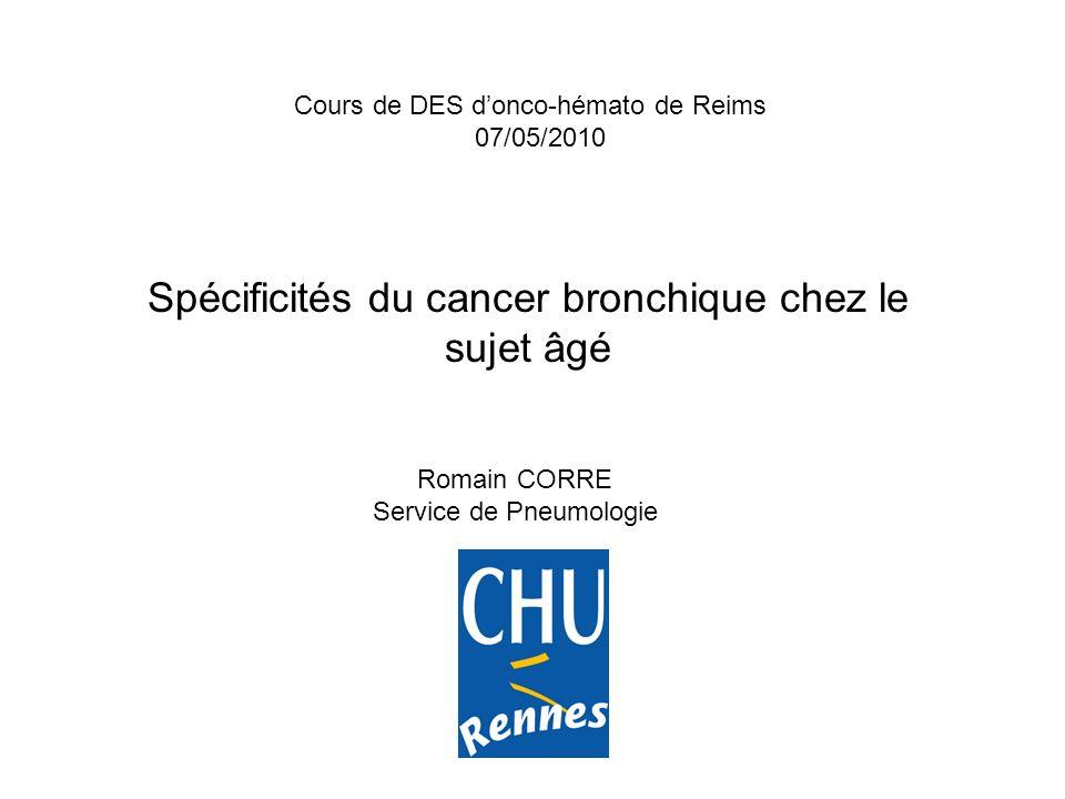 Spécificités du cancer bronchique chez le sujet âgé