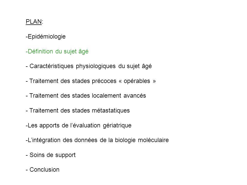 PLAN: Epidémiologie. Définition du sujet âgé. - Caractéristiques physiologiques du sujet âgé. - Traitement des stades précoces « opérables »