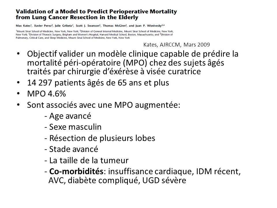 14 297 patients âgés de 65 ans et plus MPO 4.6%