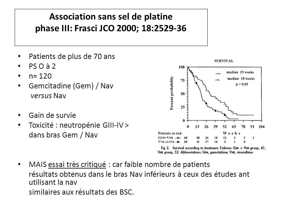 Association sans sel de platine phase III: Frasci JCO 2000; 18:2529-36