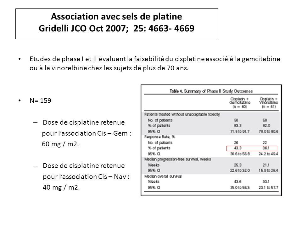 Association avec sels de platine Gridelli JCO Oct 2007; 25: 4663- 4669