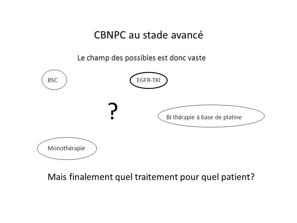 CBNPC au stade avancé Le champ des possibles est donc vaste. BSC EGFR-TKI. Bi thérapie à base de platine.