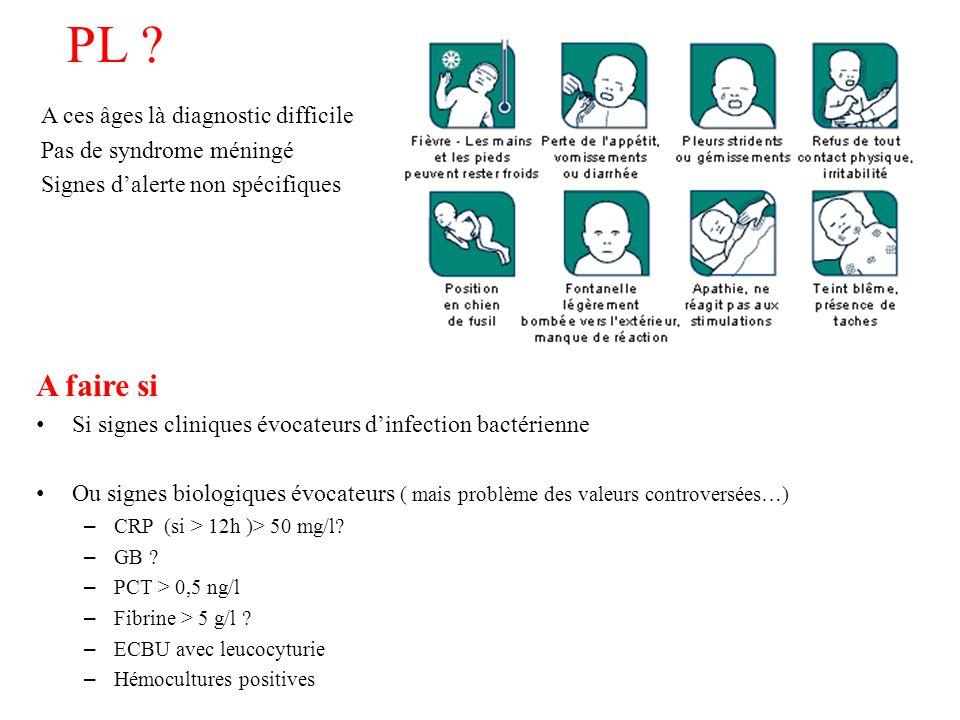 PL A ces âges là diagnostic difficile Pas de syndrome méningé Signes d'alerte non spécifiques A faire si.