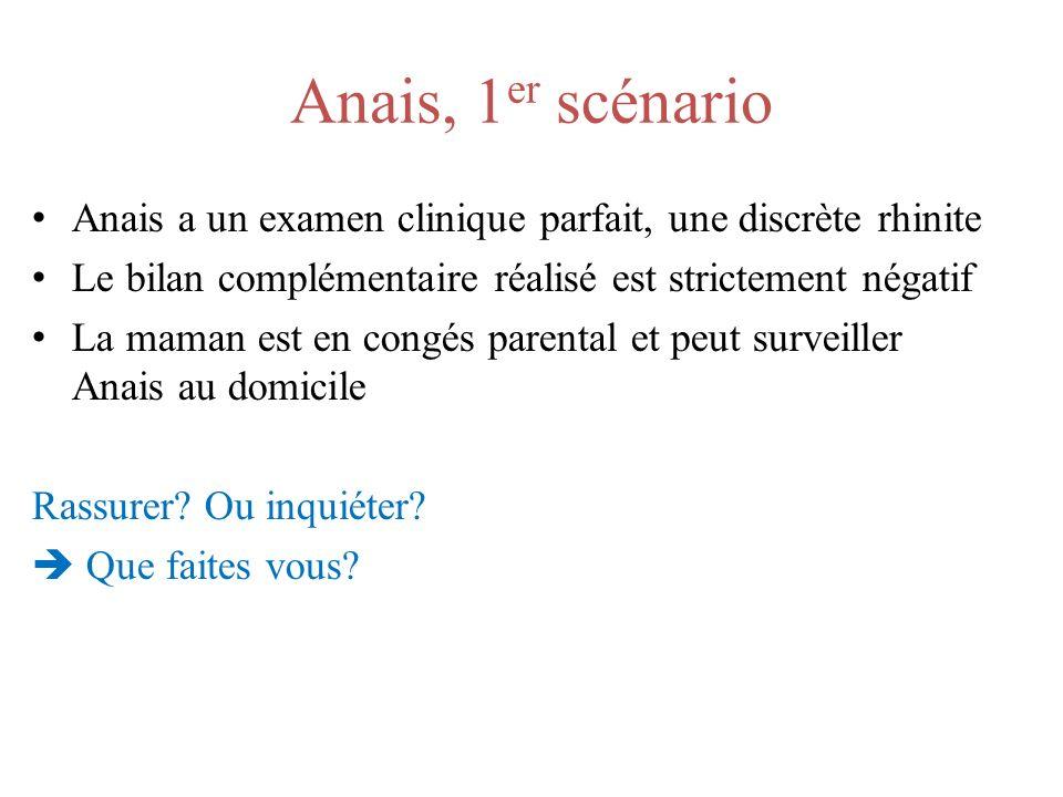 Anais, 1er scénario Anais a un examen clinique parfait, une discrète rhinite. Le bilan complémentaire réalisé est strictement négatif.