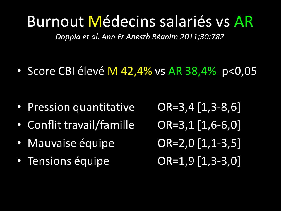 Burnout Médecins salariés vs AR Doppia et al