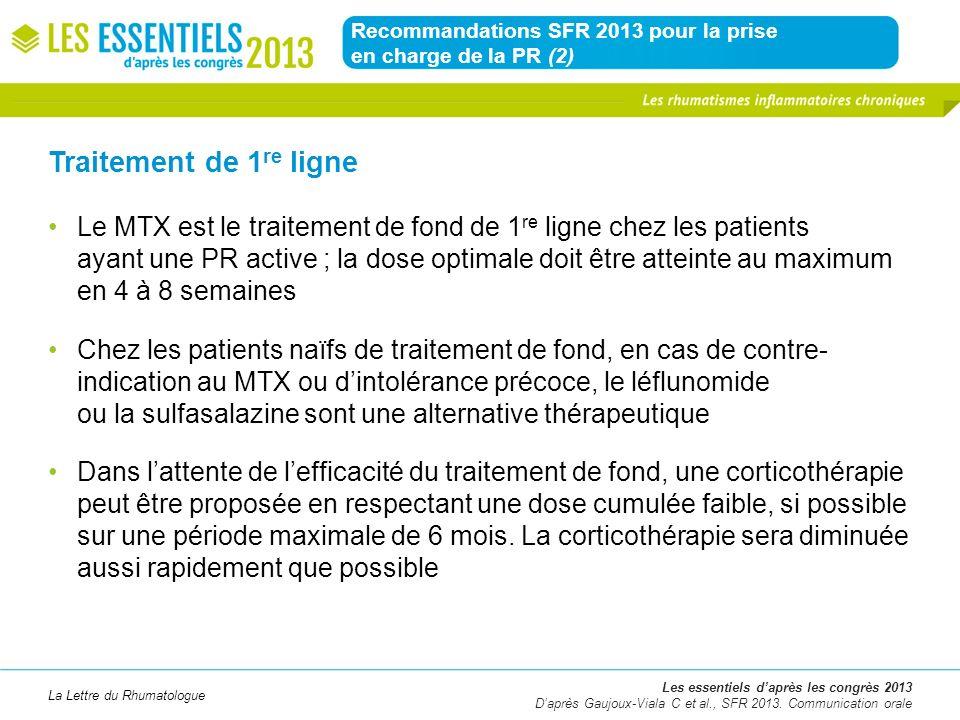 Recommandations SFR 2013 pour la prise en charge de la PR (2)