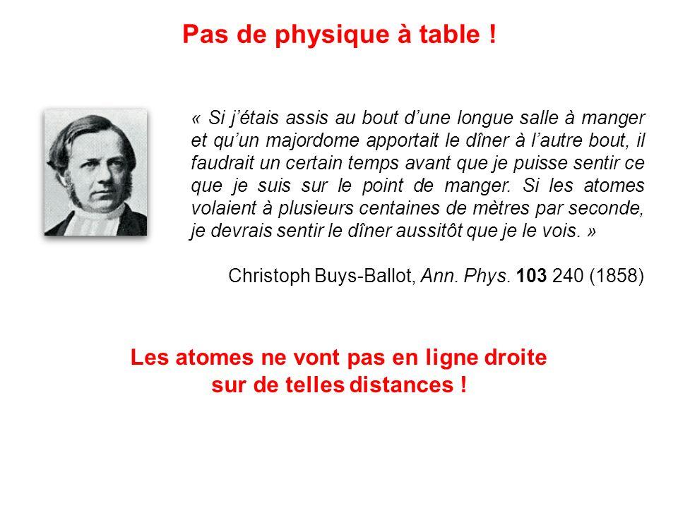 Les atomes ne vont pas en ligne droite sur de telles distances !