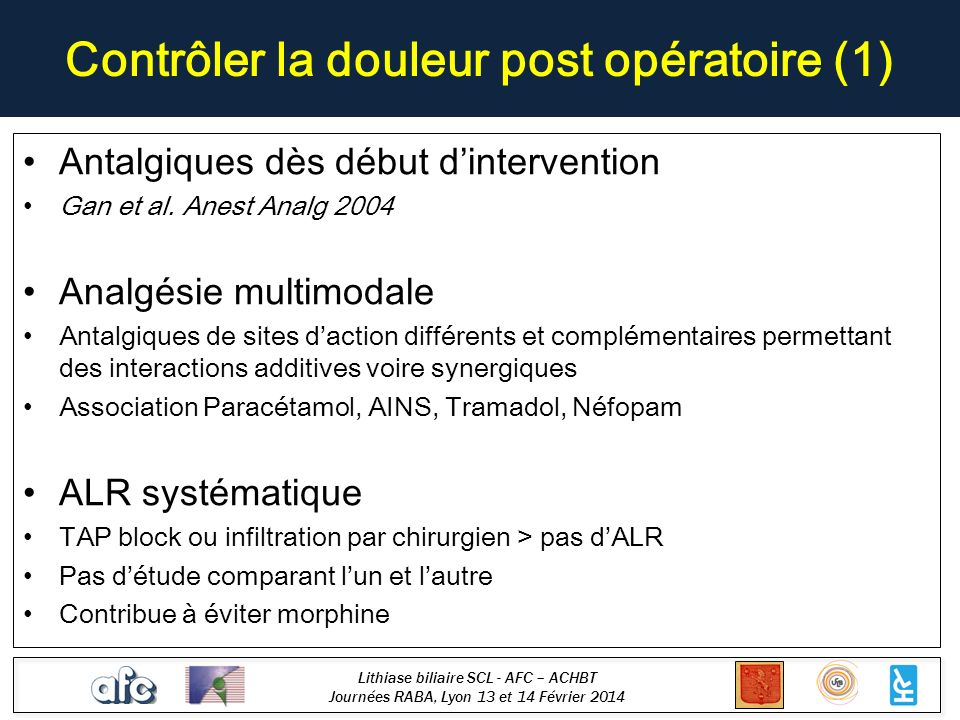Contrôler la douleur post opératoire (1)