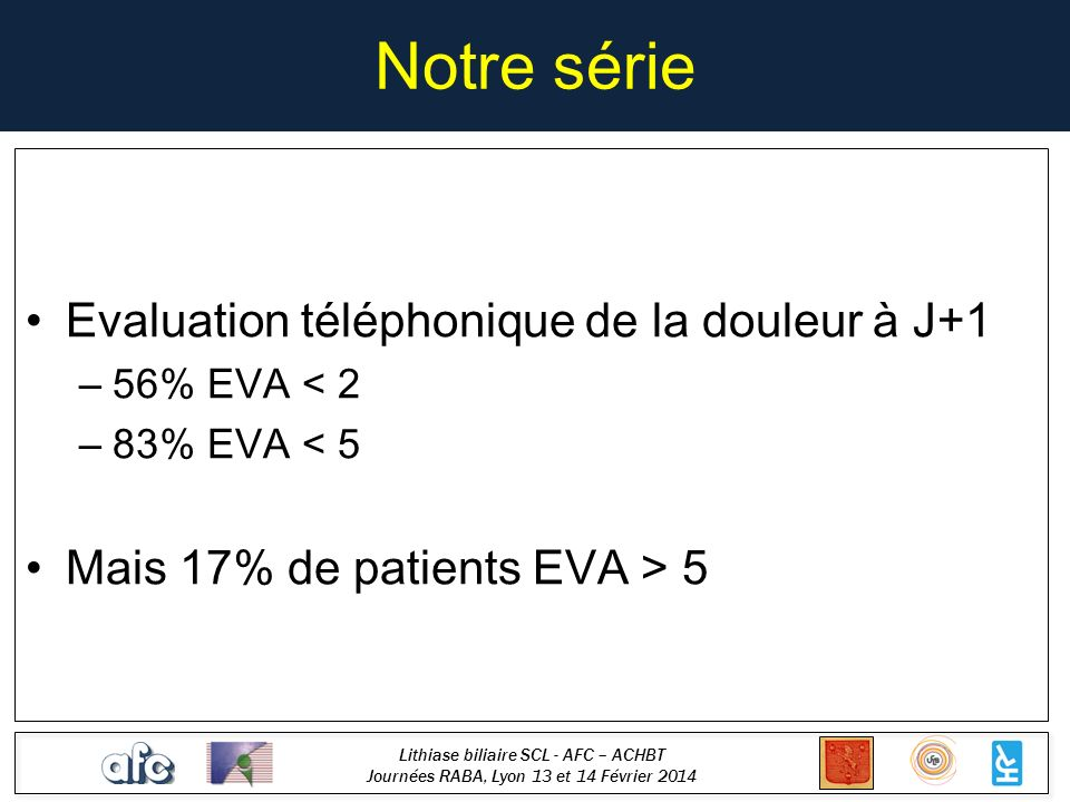 Notre série Evaluation téléphonique de la douleur à J+1
