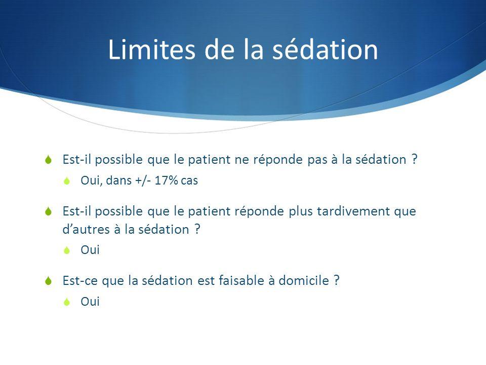 Limites de la sédation Est-il possible que le patient ne réponde pas à la sédation Oui, dans +/- 17% cas.