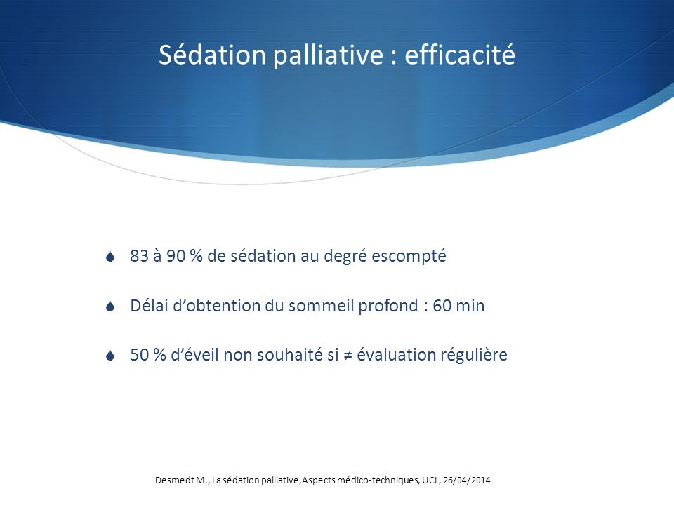 Sédation palliative : efficacité