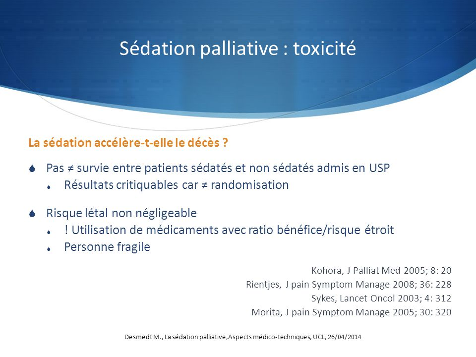 Sédation palliative : toxicité