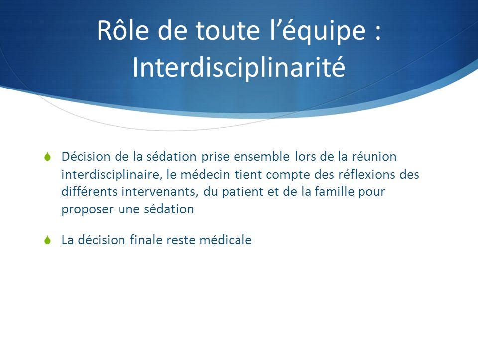 Rôle de toute l'équipe : Interdisciplinarité