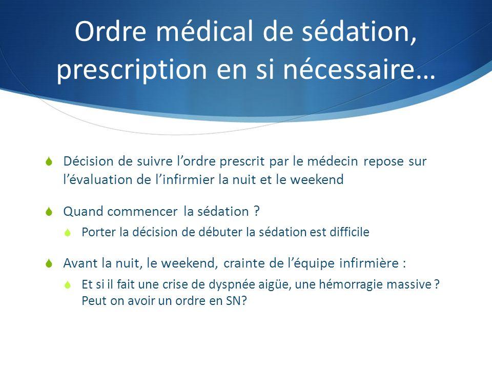 Ordre médical de sédation, prescription en si nécessaire…