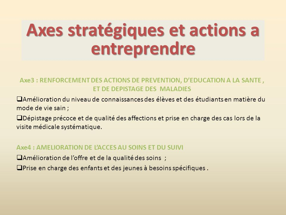 Axes stratégiques et actions a entreprendre
