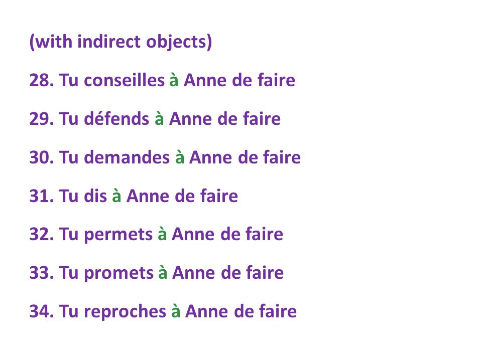 (with indirect objects) 28. Tu conseilles à Anne de faire 29