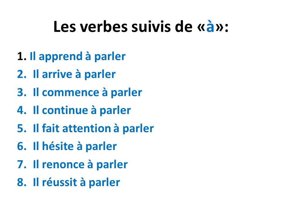 Les verbes suivis de «à»: