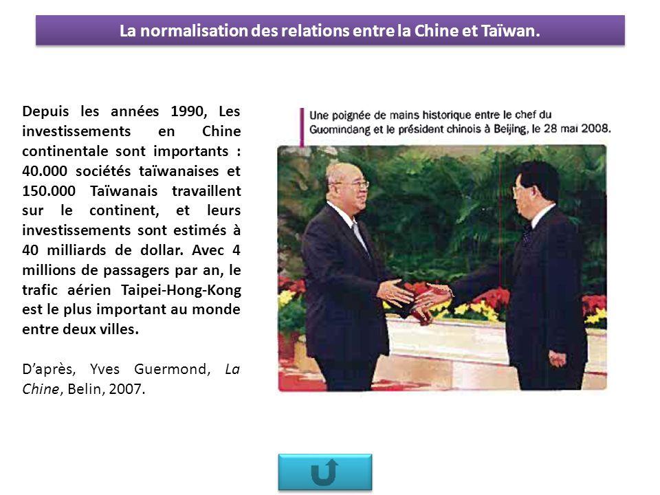 La normalisation des relations entre la Chine et Taïwan.