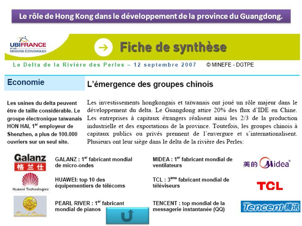 Le rôle de Hong Kong dans le développement de la province du Guangdong.