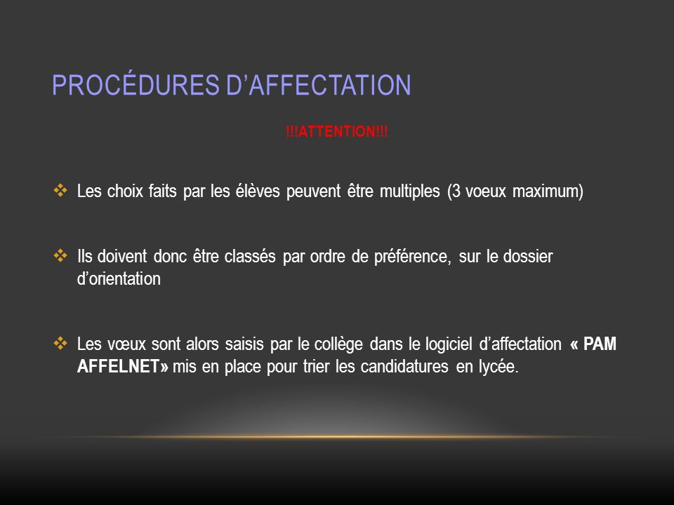 Procédures d'affectation